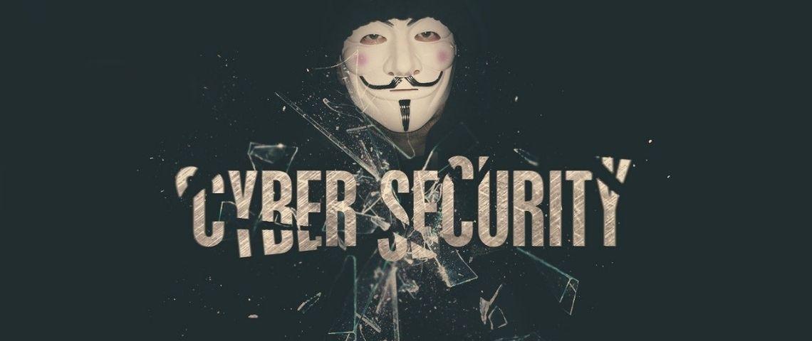 Masque des Anonymous avec la mention : Cyber Sécurité