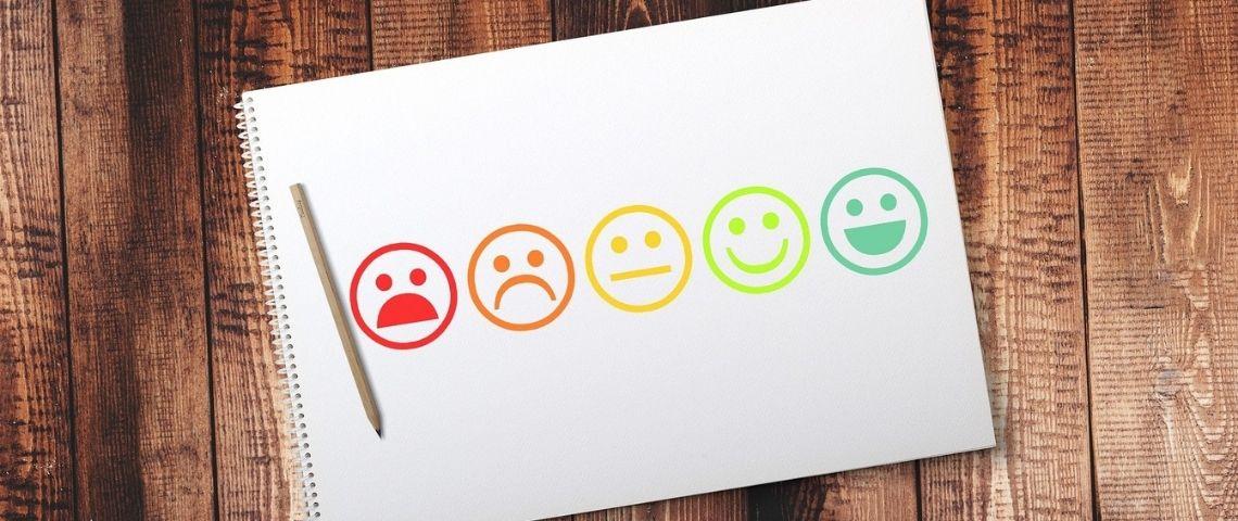 5 smileys, de content à mécontent