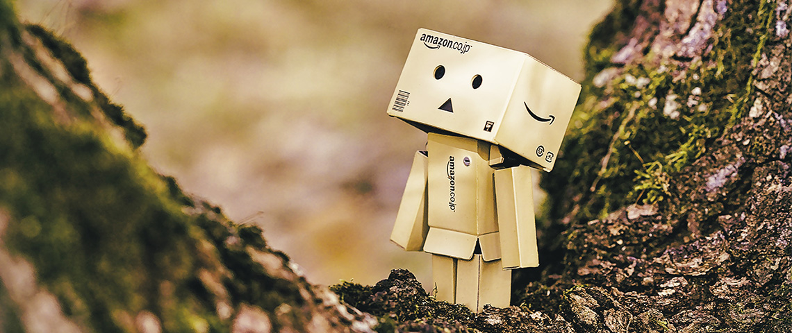 petit personnage triste composé de cartons amazon