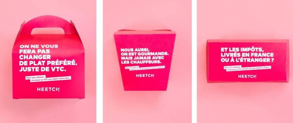 """Message sur un emballage Heetch : """"Mangez à l'américaine, déplacez-vous à la francaise. Pour vous déplacer, choississez un VTC made in France"""