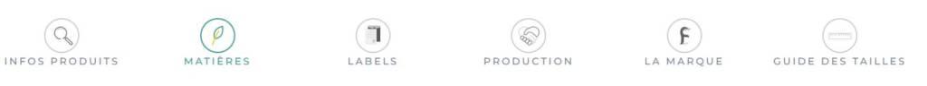 Listes des infos disponibles pour un produit : Matières, Labels, Production, La marque, Taille