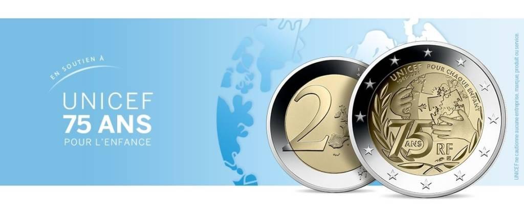 Pièce de 2 euros créée par la Monnaie de Paris pour les 75 ans de l'Unicef