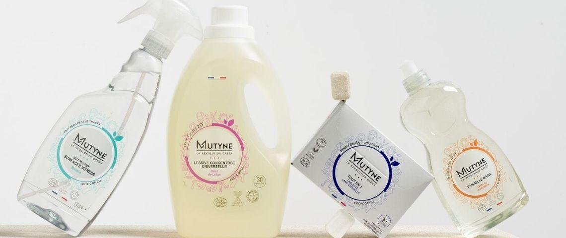 Gamme de produits Mutyne : liquide vaisselle, tablettes pour lave vaisselle et lessive