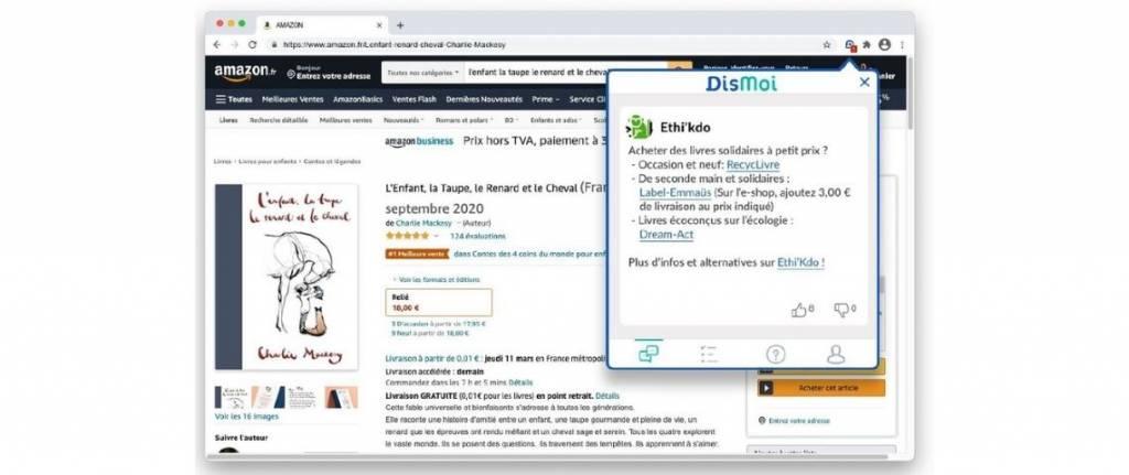 Capture des recommandations du site DisMoi
