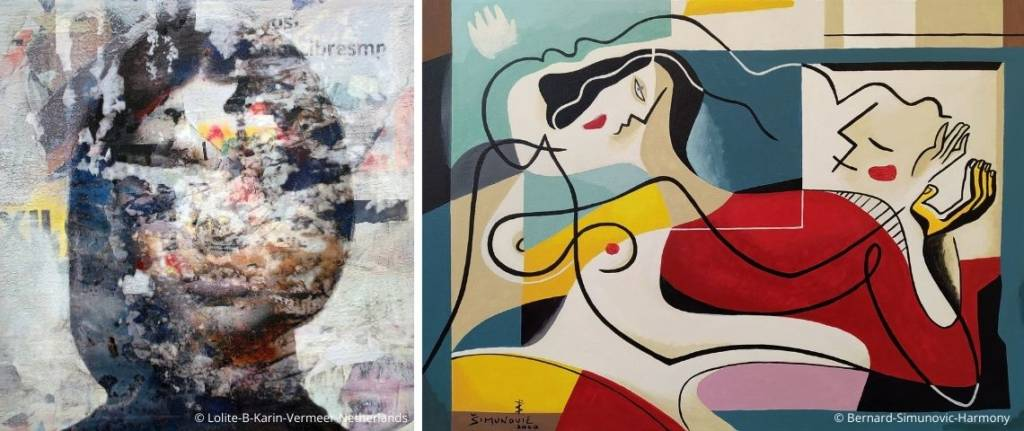 A droite tableau de : Lolite B_Karin Vermeer_Netherlands_Singulart et à gauche : Bernard Simunovic_Harmony, 2020_Singulart