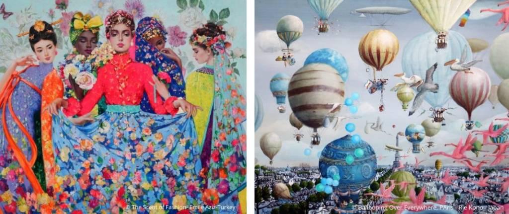 A droite : The Scent of Fashion_Emile Aziz_Turkey_Singulart et à Gauche : Ballooning over Everywhere, Paris_Rie Kono_Japan_Singulart
