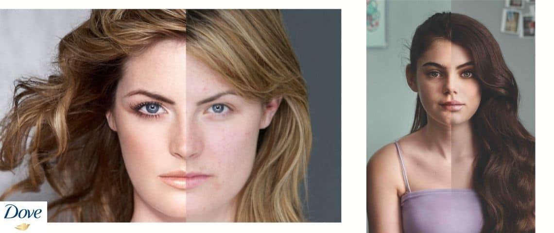 Deux femmes, un coté du visage avec un filtre ( - embellisseur - ) l'autre au naturel