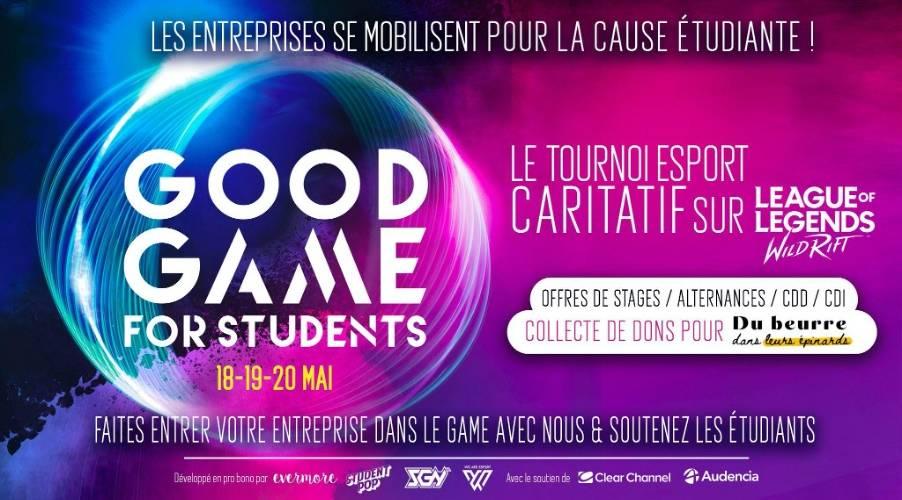 Affiche Good Game, nuance de couleur bleu/violet et annonce du projet