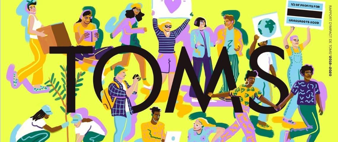 Représentation dessinée de la diversité de notre société pour le rapport d'impact de la marque Toms (shoes)