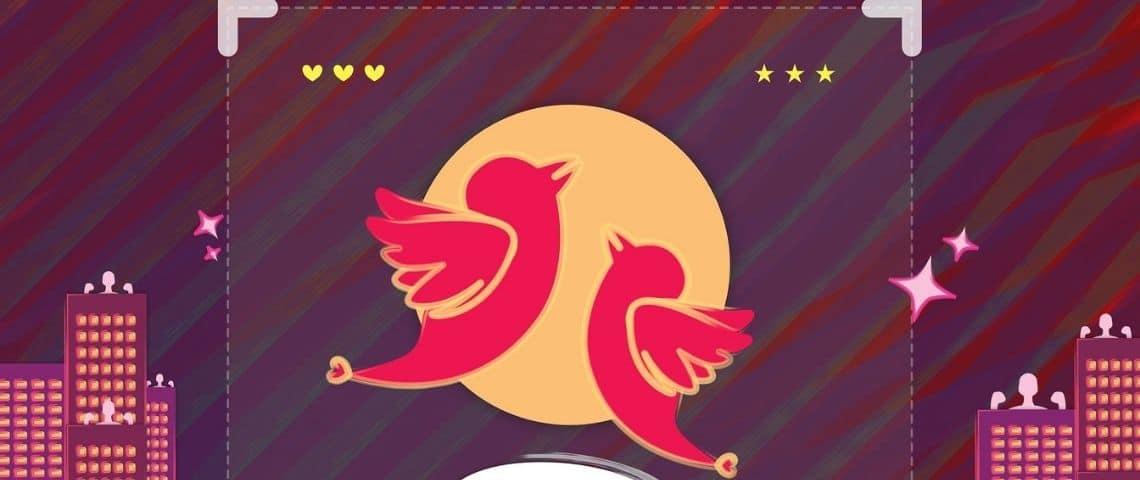 Dessin de 2 oiseaux, ressemblant au logo TikTok, en vol nuptial