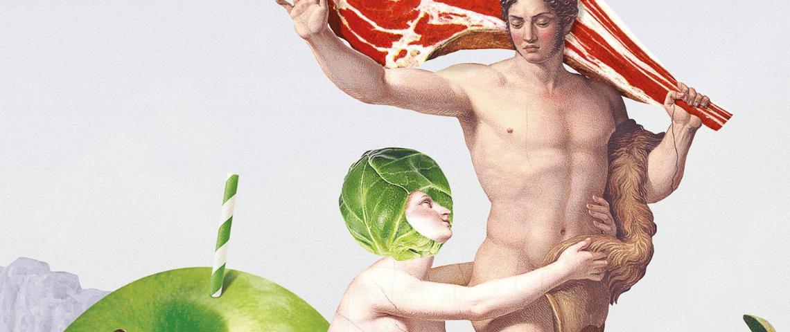 Une femme nue coiffée de salade se jette aux pieds d'une homme qui tient une entrecôte
