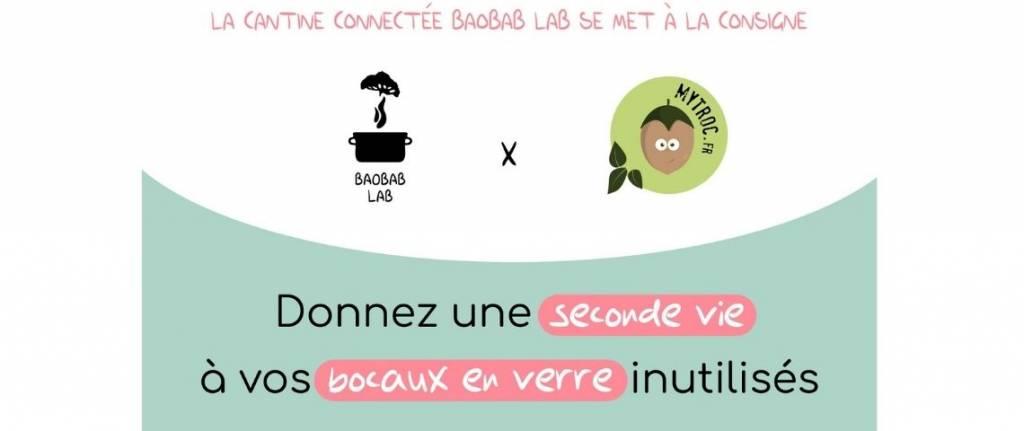 Flyer collaboration Baobab Lab et MyTroc avec leur 2 logos