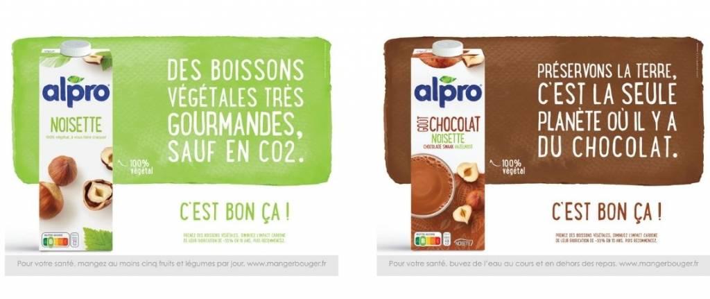 """Message : Des boissons végétales très gourmandes sauf en CO2"""" et """"Préservons la terre, c'est la seule planète où il y a du chocolat"""""""