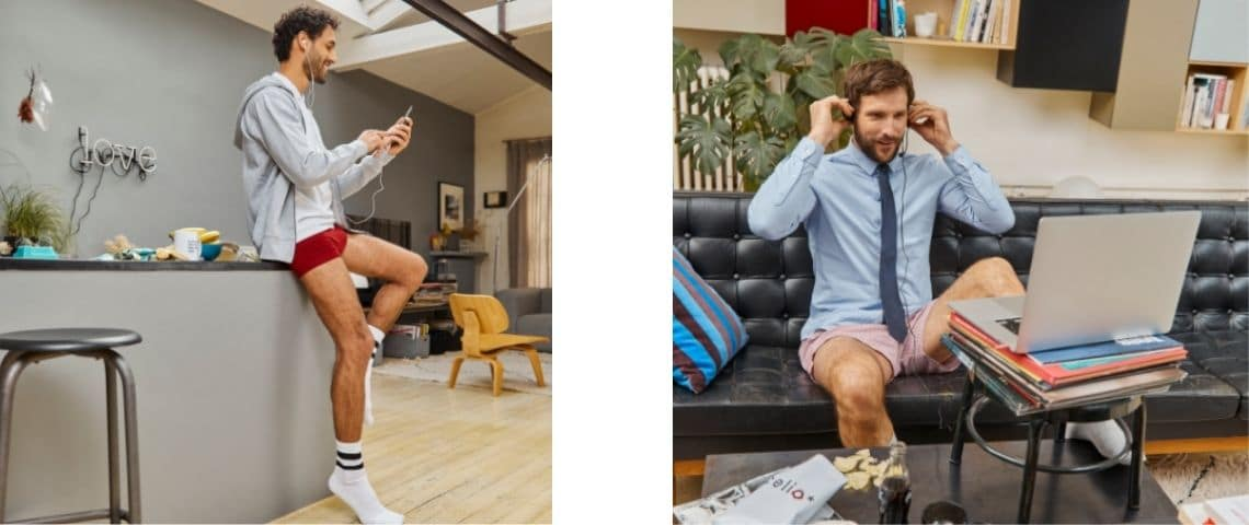 2 photos d'homme, en visioconférence, habillés en haut et en calecon en bas