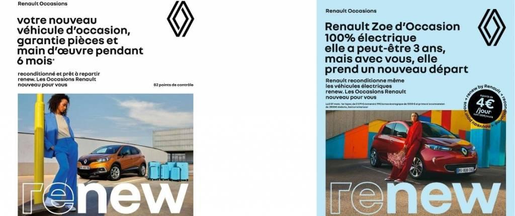 2 visuels de la campagne, avec des véhicules d'occasion et des messages promotionnels