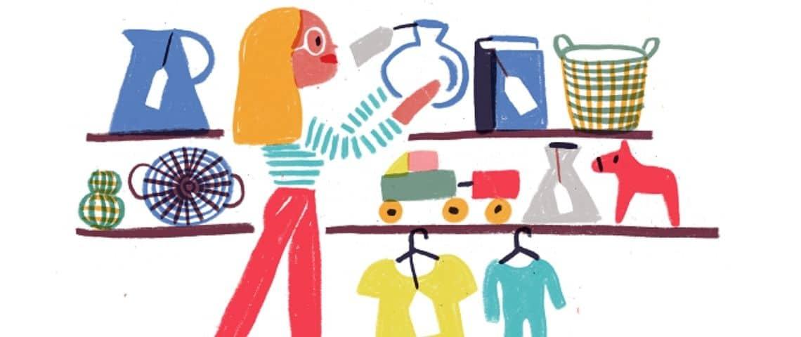 Illustration d'une femme faisant des emplettes