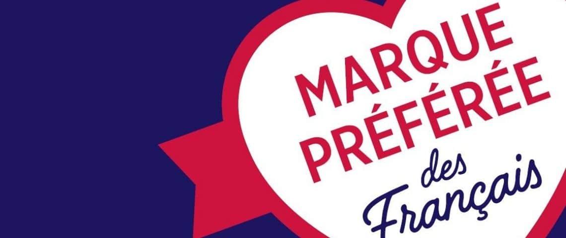 logo Marques préférées, coeur rouge sur fond bleu
