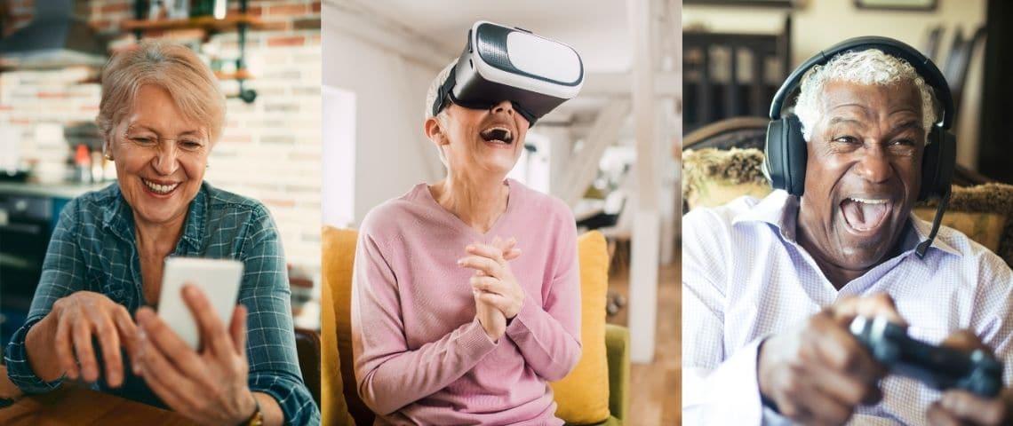 Montage de trois seniors qui ont des activités numériques (smartphone, casque de réalité virtuelle, jeux vidéo)