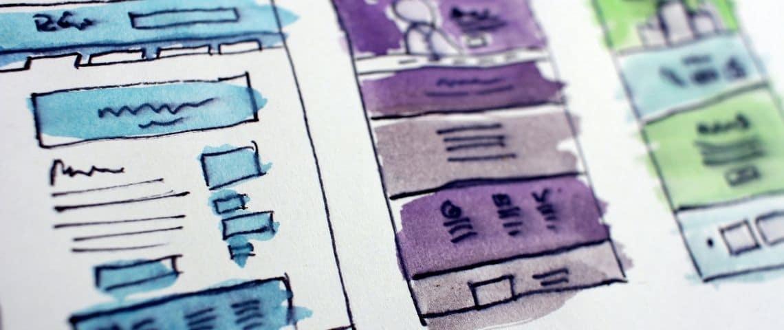 Trois dessins (bâtiments) à l'aquarelle