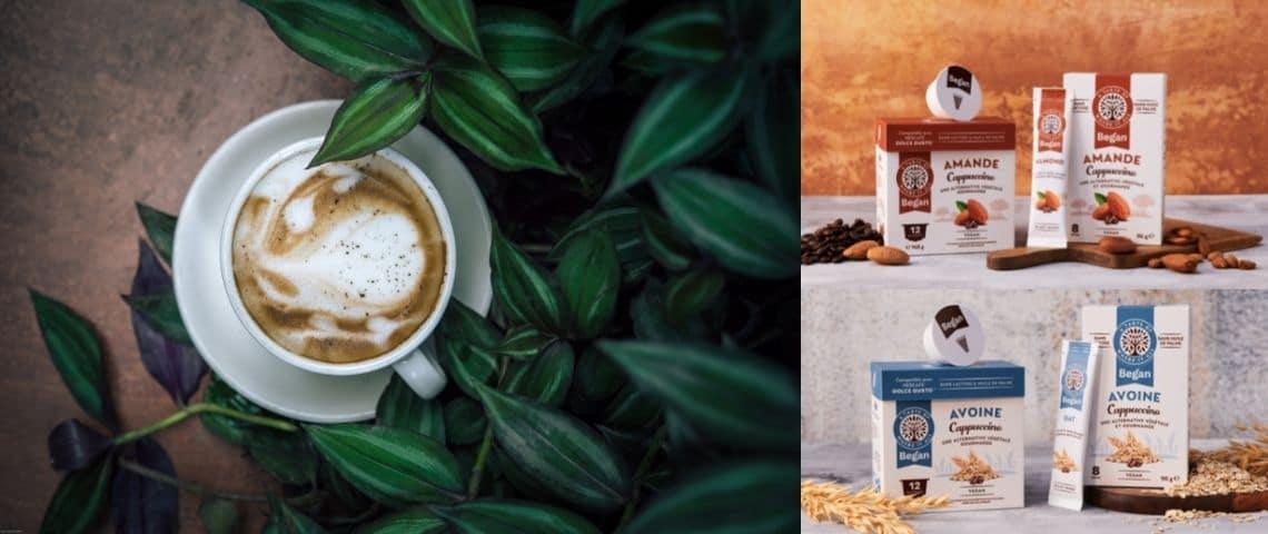 Un cappuccino et les produits vegans de la marque Began