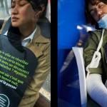 Un homme et une femme qui somnolent dans le métro