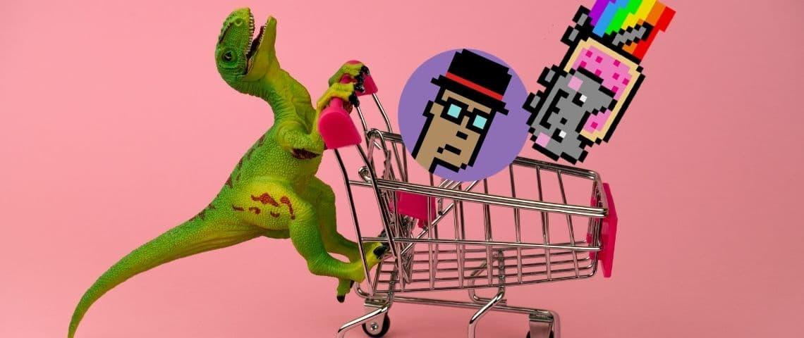 Un dinosaure pousse un caddie de course avec Nyan cat et un cryptopunk à l'intérieur