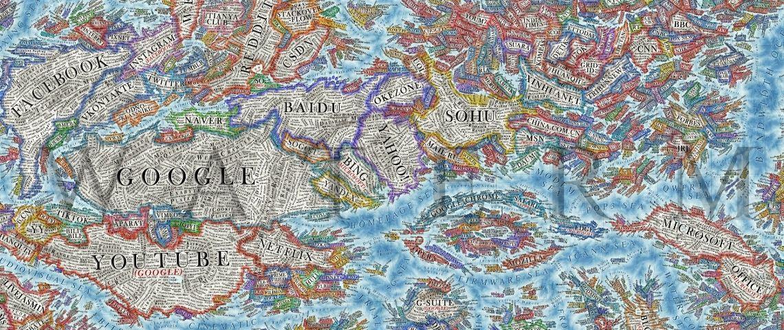 Cette carte détaillée montre l'évolution extrêmement rapide du World Wide Web