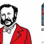 dessin d'un homme avec une veste rouge et un noeud papillon, à droite, un grand H (chez Henry)
