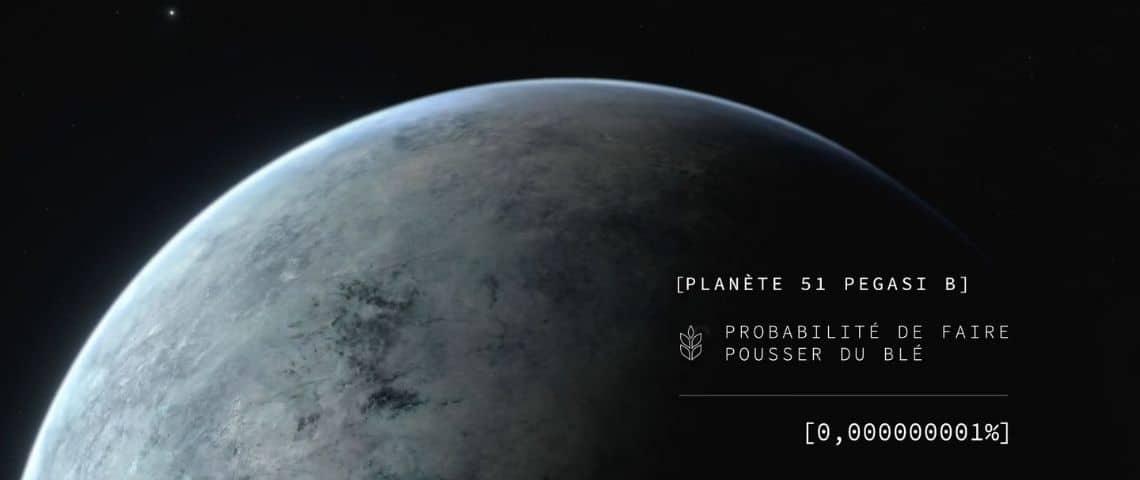 Exoplanete avec le message :  - Planete 51 Pegasi B, probabilité de faire du blé, [0.000000001%]