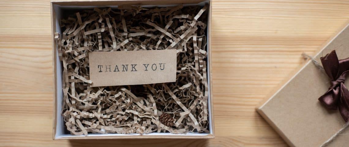 Boite cadeau, avec le messahe  - Thank You -