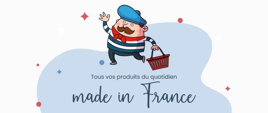 Logo Simplement Français, petit personnage avec un beret bleu, une marinière, un foulard rouge et un panier à la main