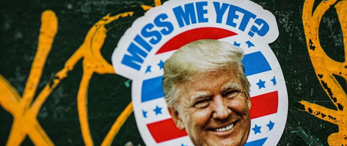 Sticker de Donald Trump avec le texte  - Miss me yet -  (je vous manque déjà?)