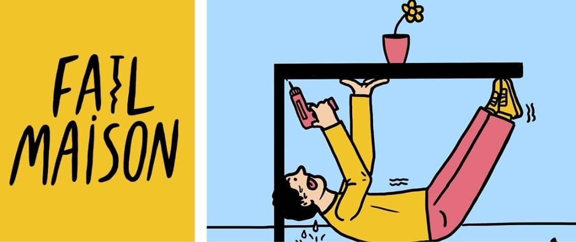 Homme bricolant sous une table