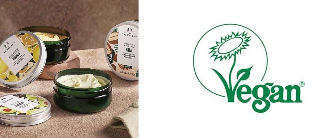 Produits The Body Shop et le logo Vegan