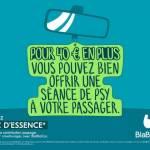 """Message :""""pour 40 euros de plus vous pouvez bien offrir une séance de psy à votre passager"""
