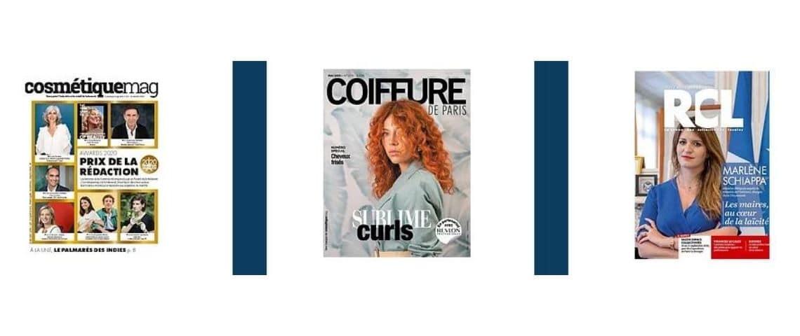 Couverture des magazines : Cosmétiquemag, Coiffure de Paris et La revue des Collectivités Locales