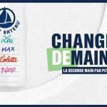 Affiche de la campagne Changer Demain avec une étiquette de T-sirt sur laquelle se succède le nom de différents enfants