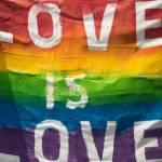 """Drapeau LGBT avec le message """"Love is Love"""""""