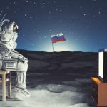 Cosmonaute devant la TV sur la lune