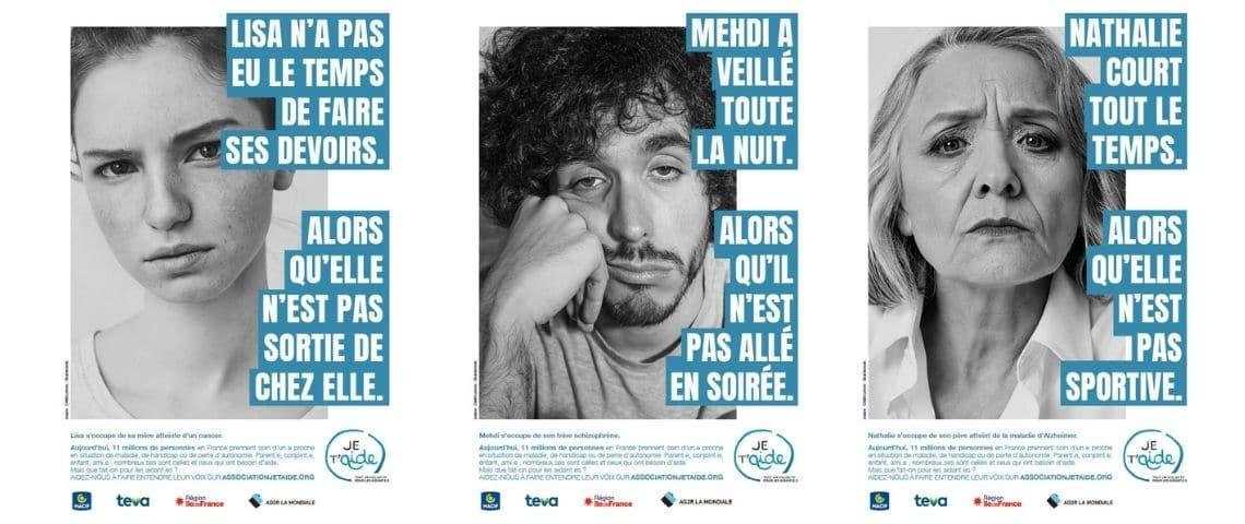 Un homme, deux femmes. campagne sensibilisation pour les aidants