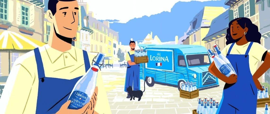 Une femme et deux hommes qui tiennent des boissons Lorina