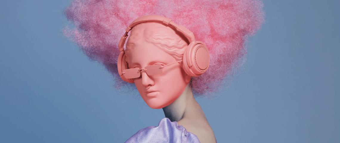 Statue rose avec afro, lunettes et casque roses