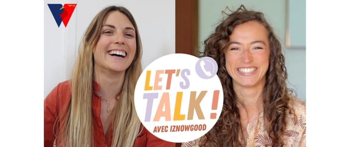 Logo Let's talk avec 2 femmes souriantes en arrière plan